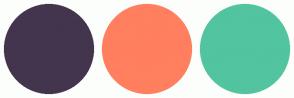 Color Scheme with #43354D #FF7F5F #52C49F