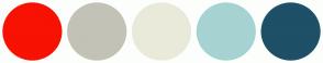 Color Scheme with #F71203 #C3C2B7 #EAEADA #A6D3D2 #1E5067