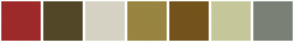 Color Scheme with #9E2A2B #524727 #D6D2C4 #998542 #74531C #C6C89B #7A8076