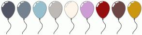 Color Scheme with #525564 #74828F #96C0CE #BEB9B5 #FEF6EB #CD9DD4 #950F0F #6D4646 #CC9610