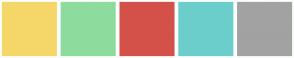 Color Scheme with #F5D769 #8EDC9D #D4514A #6CCECB #A2A2A2