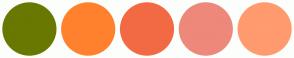 Color Scheme with #697800 #FF812E #F26A43 #ED887B #FF9B6E