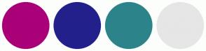 Color Scheme with #AA0078 #23208C #2C848A #E6E6E6
