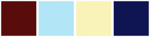 Color Scheme with #590C0C #B2E6F7 #FAF3B9 #0F1552
