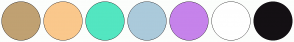 Color Scheme with #C0A172 #FAC88C #53E6C1 #ABCADB #C683EB #FFFFFF #141014