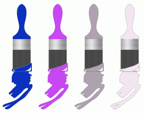 Color Scheme with #0D31BF #C947F5 #AFA2B0 #F2E6F2