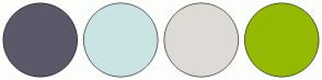 Color Scheme with #5B5869 #CAE4E3 #DEDBD6 #94BA03