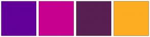 Color Scheme with #620099 #C7008F #581F52 #FDAD22