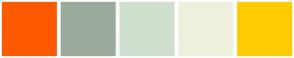Color Scheme with #FF5A00 #9CAA9C #CEDFCE #EFEFDE #FFCC00