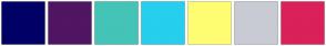 Color Scheme with #000066 #501563 #43C4B7 #26CFED #FFFD73 #C9CBD4 #DB2159