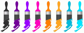 Color Scheme with #303030 #730099 #9900FF #FF00BF #FF8000 #FFA621 #00BADB #00E5FF