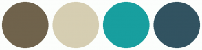 Color Scheme with #70634C #D6CEB2 #189F9F #325361