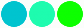 Color Scheme with #00C4CF #1EFCAF #0DFF00
