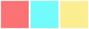 Color Scheme with #FB7374 #73FBFB #FAEF91