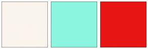 Color Scheme with #FAF4ED #8CF5E0 #E81515