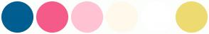 Color Scheme with #005E91 #F55B89 #FFC3D3 #FFF9EB #FFFFFF #EDDB72