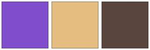 Color Scheme with #804ECC #E6BD81 #59453E