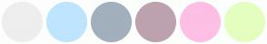 Color Scheme with #EEEEEE #BFE5FE #A2AFBD #BDA2AF #FEBFE4 #E4FEBF