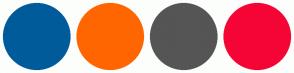 Color Scheme with #005B9A #FF6600 #555555 #F50535