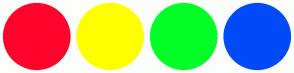 Color Scheme with #FF052B #FFFF00 #03FF28 #004AF7