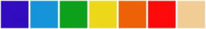Color Scheme with #310DBF #1694D9 #0DA11C #EDD81A #ED6307 #FF0A0A #F2CD96