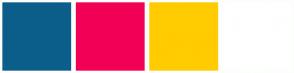 Color Scheme with #0C5E8A #F20056 #FFCC00 #FFFFFF