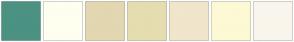 Color Scheme with #4B9282 #FFFFF0 #E2D7B1 #E5DDAF #F1E5CB #FDF9D5 #F9F5EC