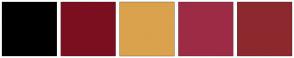 Color Scheme with #000000 #7B0F20 #DBA24D #9D2B45 #8C292E