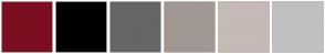Color Scheme with #7B0F20 #000000 #666666 #A19893 #C5BAB5 #C0C0C0