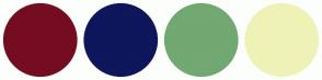 Color Scheme with #750D22 #0E165C #72A872 #EFF2B6
