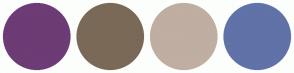 Color Scheme with #6D3B75 #7A6957 #BFAEA1 #6072A8