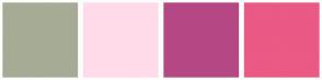 Color Scheme with #A6AB96 #FFDBEA #B54884 #EB5985