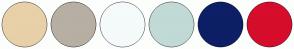 Color Scheme with #E8D0A9 #B7AFA3 #F5FAFA #C1DAD6 #0D1F66 #D60D2B