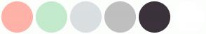 Color Scheme with #FFB2A8 #C4EACD #DADFE1 #BFBFBF #3B323C #FFFFFF