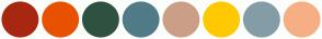 Color Scheme with #A82710 #E85100 #2F5240 #507B87 #CB9E87 #FEC902 #849CA6 #F6AF84