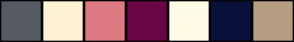 Color Scheme with #565A63 #FFF2D4 #DE7A84 #6B0544 #FFFBE6 #0A113B #B59E81