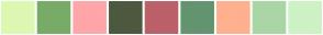 Color Scheme with #DEF7B2 #79AB68 #FFA6AA #4D593E #BA616A #63946F #FFB08F #AAD6A5 #CDF2C4