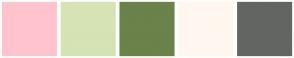 Color Scheme with #FFC3CE #D6E3B5 #6B824A #FFF7EF #636563