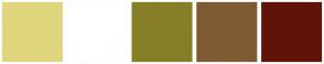 Color Scheme with #E0D67D #FFFFFF #867F27 #7E5B33 #601407