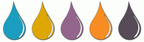 Color Scheme with #1B9EBF #DEA704 #94668D #F78D23 #564B57