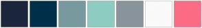 Color Scheme with #1C263C #00304A #789A9F #8DCDC1 #8A949B #FAFAFA #FC6C85