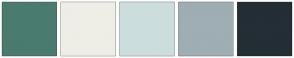 Color Scheme with #4A7B6F #EEEEE7 #CCDDDD #9EAEB3 #242E35