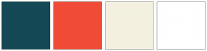 Color Scheme with #144955 #F14C38 #F4F1E0 #FFFFFF
