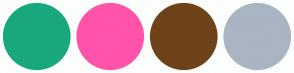 Color Scheme with #19A87D #FF54AA #6E4319 #A9B5C2