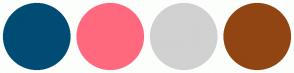Color Scheme with #004C75 #FF697F #D1D1D1 #914513