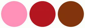 Color Scheme with #FF91B8 #B3171F #82350C