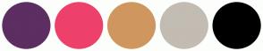 Color Scheme with #5C2E61 #ED406B #CF975F #C2BCB2 #000000