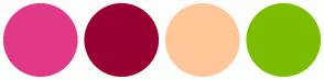 Color Scheme with #E13987 #990033 #FFC799 #7DBD00