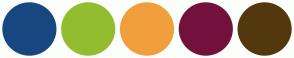 Color Scheme with #184780 #92BD2F #F09F3C #73113D #54380D