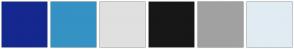 Color Scheme with #15288F #3592C4 #E0E0E0 #171717 #A1A1A1 #E1EBF2